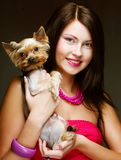 Cute young girl with her Yorkie puppy Stock Photography