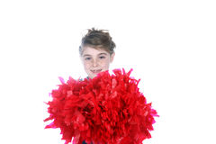 Cute young girl holding big cheerleader pompom Royalty Free Stock Photos