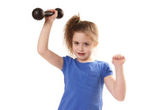 Girl lifting dumbbells Stock Photos