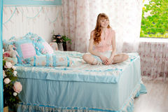 Cute Young Girl In The Children S Bedroom Stock Image