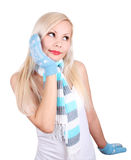 Cute young girl in mittens and scarf Royalty Free Stock Photography