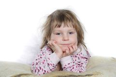 Cute young girl over white royalty free stock photo