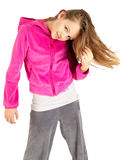 Cute young girl in pink sport jacket Royalty Free Stock Image