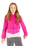 Cute young girl in pink sport jacket Royalty Free Stock Images