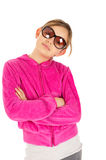 Cute young girl in pink sport jacket Stock Photography