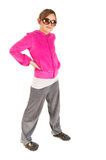 Cute young girl in pink sport jacket Stock Images