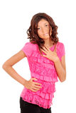 Cute young girl with pink top Royalty Free Stock Photo