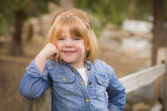 Cute Young Girl Posing for a Portrait Outside Stock Images