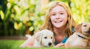 Cute Young Girl with Puppies Stock Photos