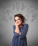 Cute young girl with question sign doodles Stock Image