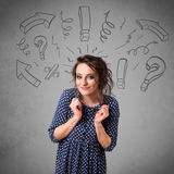Cute young girl with question sign doodles Royalty Free Stock Image