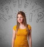 Cute young girl with question sign doodles Royalty Free Stock Photos