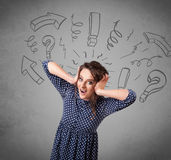 Cute young girl with question sign doodles Royalty Free Stock Photo