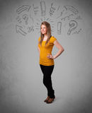 Cute young girl with question sign doodles Stock Photography
