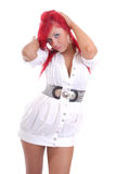 Cute young girl with red hair Stock Images