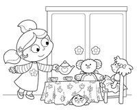 Cute young girl serving tea. With dolls and teddy bear. Black and white illustration Royalty Free Stock Photos