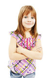 Cute young girl standing with folded hands Royalty Free Stock Image