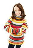 Cute young girl standing with folded hands Royalty Free Stock Images