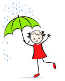 Cute young girl with umbrella. T-shirt design. Royalty Free Stock Image
