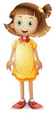 A cute young girl wearing a yellow polka dress Royalty Free Stock Photo