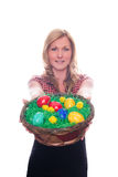 Cute Young Girl Women handing Easter Basket Eggs color. Young Girl Women handing Easter Basket Eggs color royalty free stock image