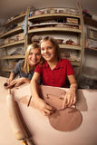 Cute young girls in a clay studio Royalty Free Stock Photo