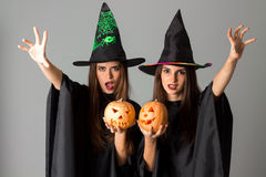 Cute young girls in halloween style Stock Photo