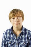 Cute young happy boy with white Royalty Free Stock Photos