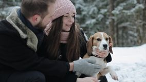 Cute young hipster couple having fun in winter park with their dog on a bright day and smiling. Man and woman playing stock video footage