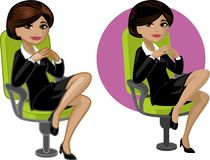 Cute young Indonesian office woman on chair Stock Image