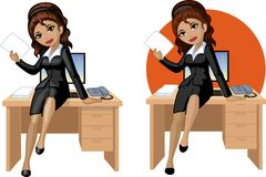 Cute young Indonesian office woman sitting on Royalty Free Stock Photos