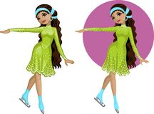 Cute young Indonesian woman figure skater Royalty Free Stock Photo