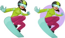 Cute young Indonesian woman on snowboard Stock Photo
