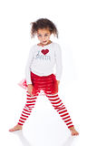 Cute young kid in Christmas outfit royalty free stock images