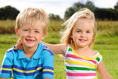 Cute young kids outdoors Stock Image