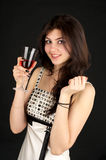 Cute young lady with glass of red Royalty Free Stock Image