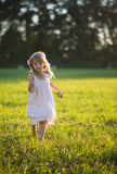 Cute young lady runs. Around in a meadow Royalty Free Stock Photos