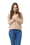 Cute young lady smiling on isolated white background Stock Image