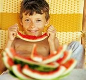 Cute young little boy with watermelon crustes smiling Stock Photography