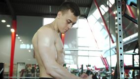 Cute Young Male Bodybuilder Training Biceps in Exercise Machine. Cute Young Male Bodybuilder Engaged With An Exercise Machine To Train Biceps Muscles. Healthy stock footage