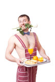 Cute young man holding a tray of food Royalty Free Stock Photo