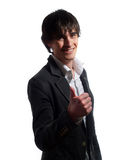 Cute young man is showing the thumbs up Stock Photos