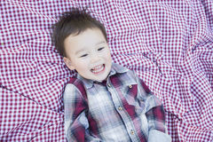Cute Young Mixed Race Boy Laughing On Picnic Blanket Stock Photos