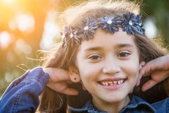 Pretty Young Mixed Race Girl Having Fun Outdoors. Cute Little Young Mixed Race Girl Having a Fun time Outdoors royalty free stock photography