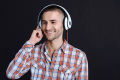 Cute young person relaxing with music Royalty Free Stock Images