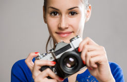 Cute young photographer Stock Images