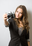 Cute young photographer. Royalty Free Stock Photos