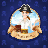 Cute young pirate with treasures Royalty Free Stock Photos