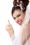 Cute young playful bride showing wedding ring and makes faces Royalty Free Stock Photography