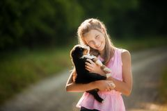 A cute young puppy licking the face of a pretty young girl as she is laughing stock images